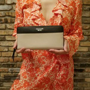 Kate Spade Large Continental Wallet Black Beige
